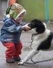 儿童与动物搞笑图片