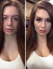 女人卸妆前后对比