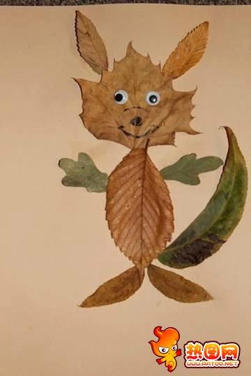 树叶贴画作品图片大全