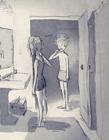 一组情侣的日常插画